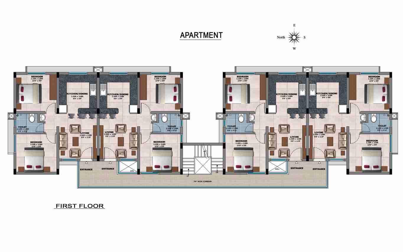 Open Floor Plan Multi Cluster Living Room