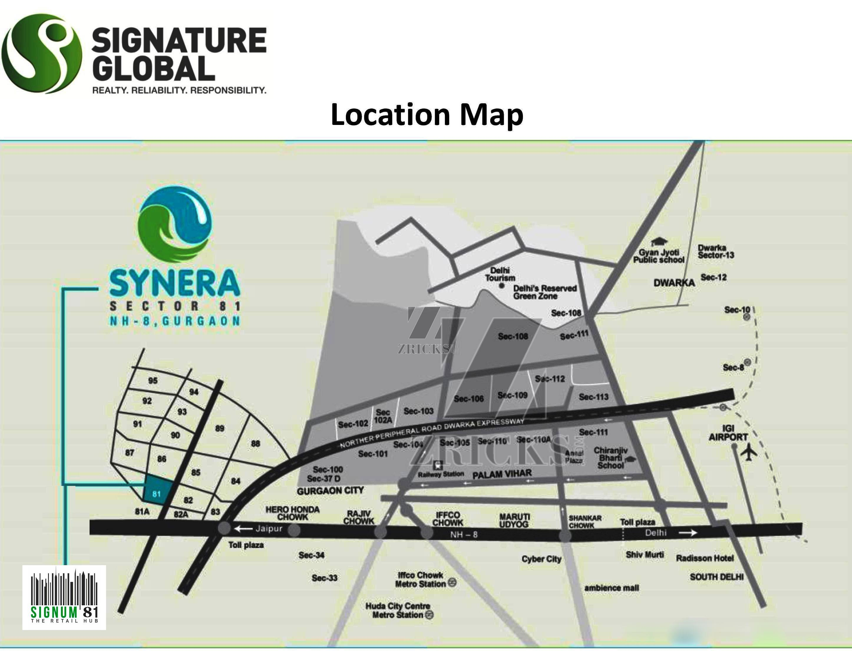 Click on any of the pictures to see the airport diagram - The Signature Global Signum 81 Location Map Click Here To View