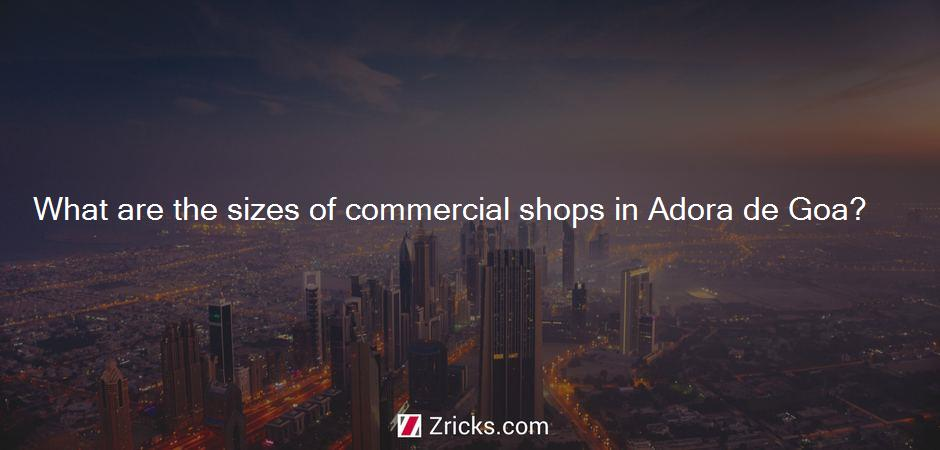 What are the sizes of commercial shops in Adora de Goa?