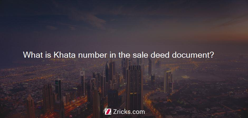 What is Khata number in the sale deed document?