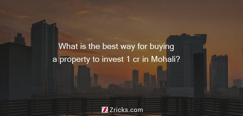 What is the best way for buying a property to invest 1 cr in Mohali?