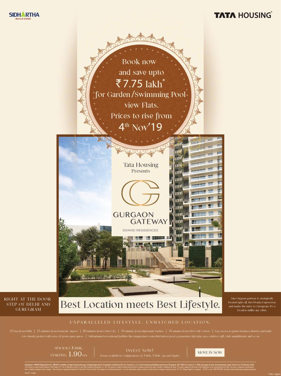 Book now and save up to Rs 7 75 Lac for garden swimming pool view flats at Tata Gurgaon Gateway Gurgaon