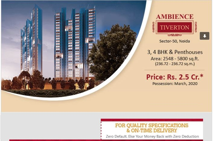 Book 3 4 BHK and penthouses at Rs 2 5 Cr onwards at Ambience Tiverton in Noida