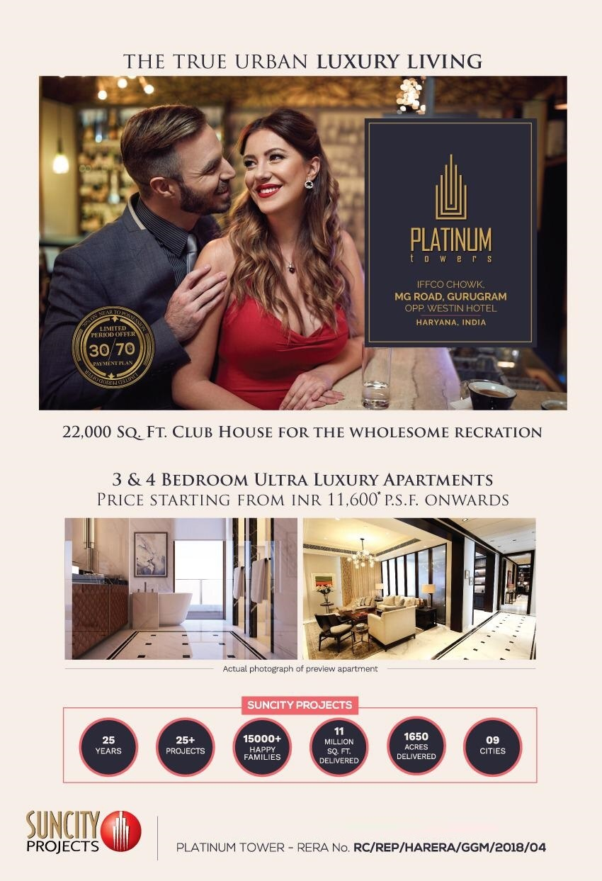 Offering Limited 30 70 Possession Payment Plan in Suncity Platinum Towers Gurgaon