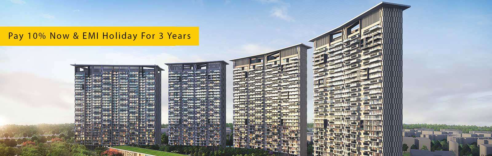 Pay 10 now EMI holiday for 3 years at Prateek Canary Noida