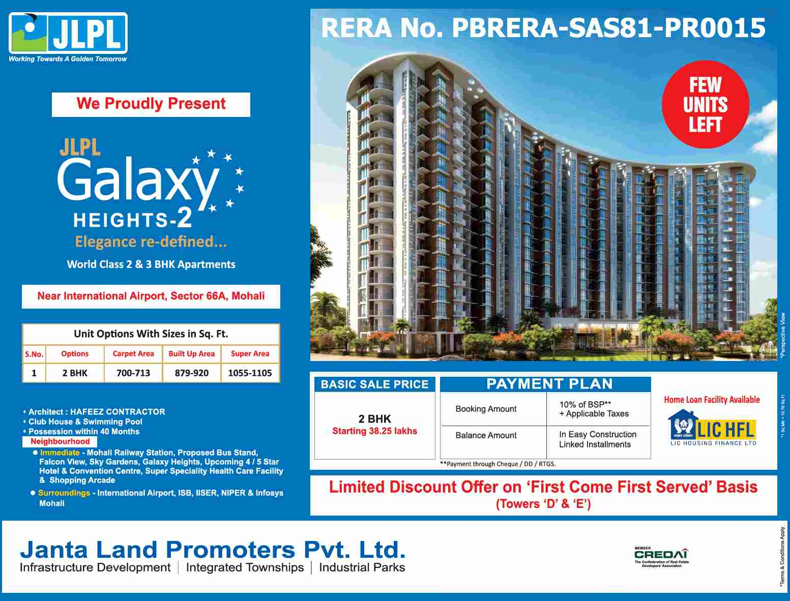 Book 2 BHK Rs 38 25 lakhs at JLPL Galaxy Heights 2 in Mohali
