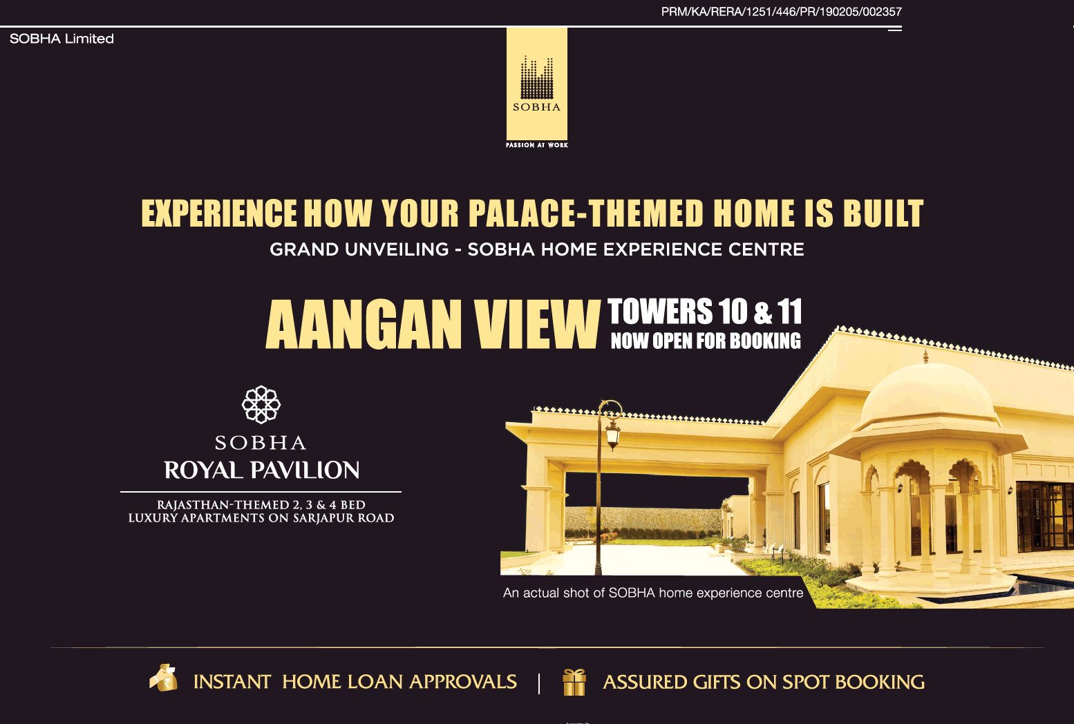 Rajasthan themed 2 3 and 4 BHK luxury apartments at Sobha Royal Pavilion in Bangalore