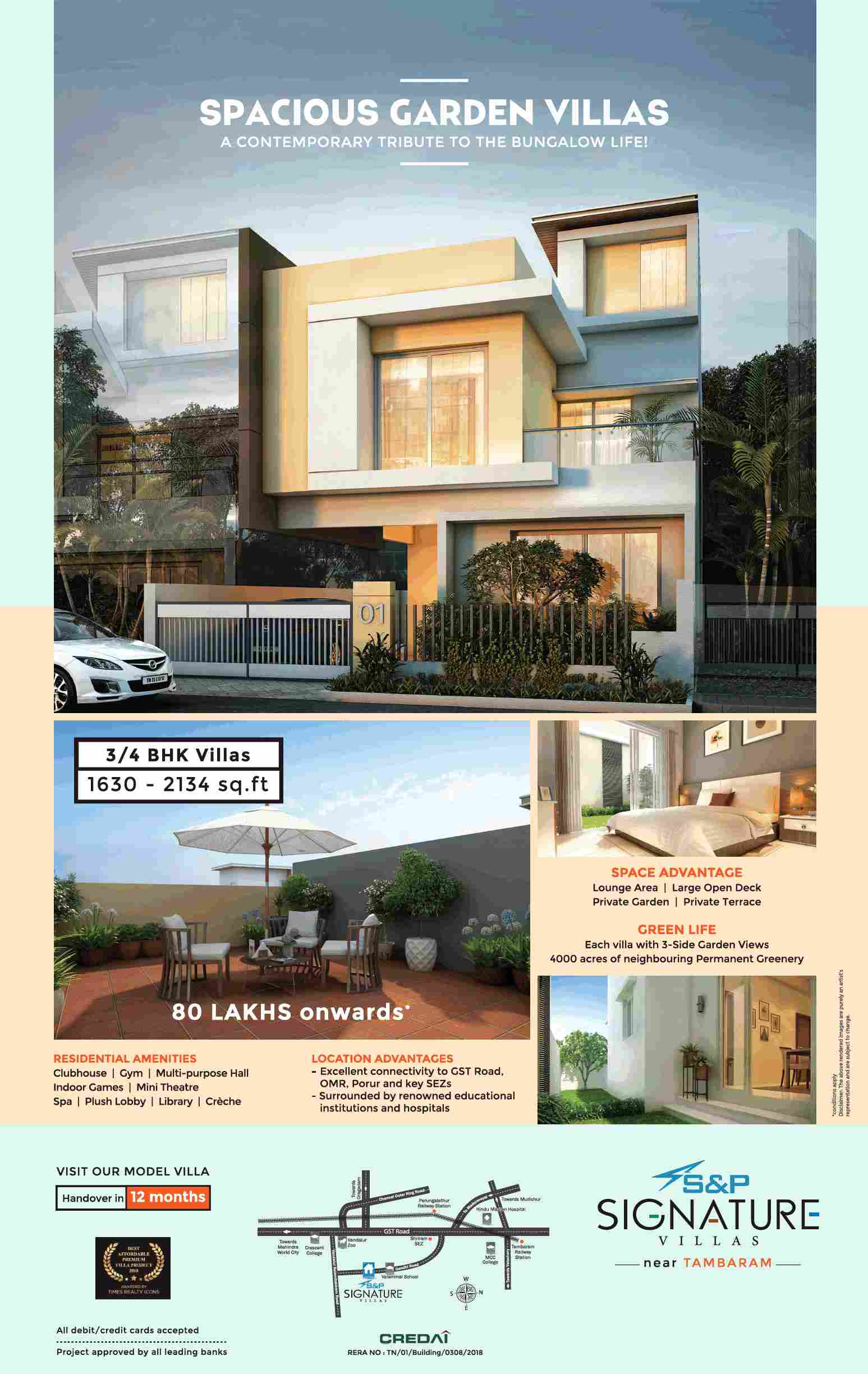 Model villas ready for visit at S P Signature Villas in Chennai