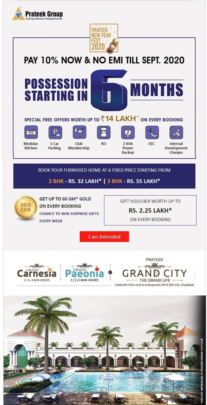 Pay 10 now and no EMI till sept 2020 at Prateek Group Projects