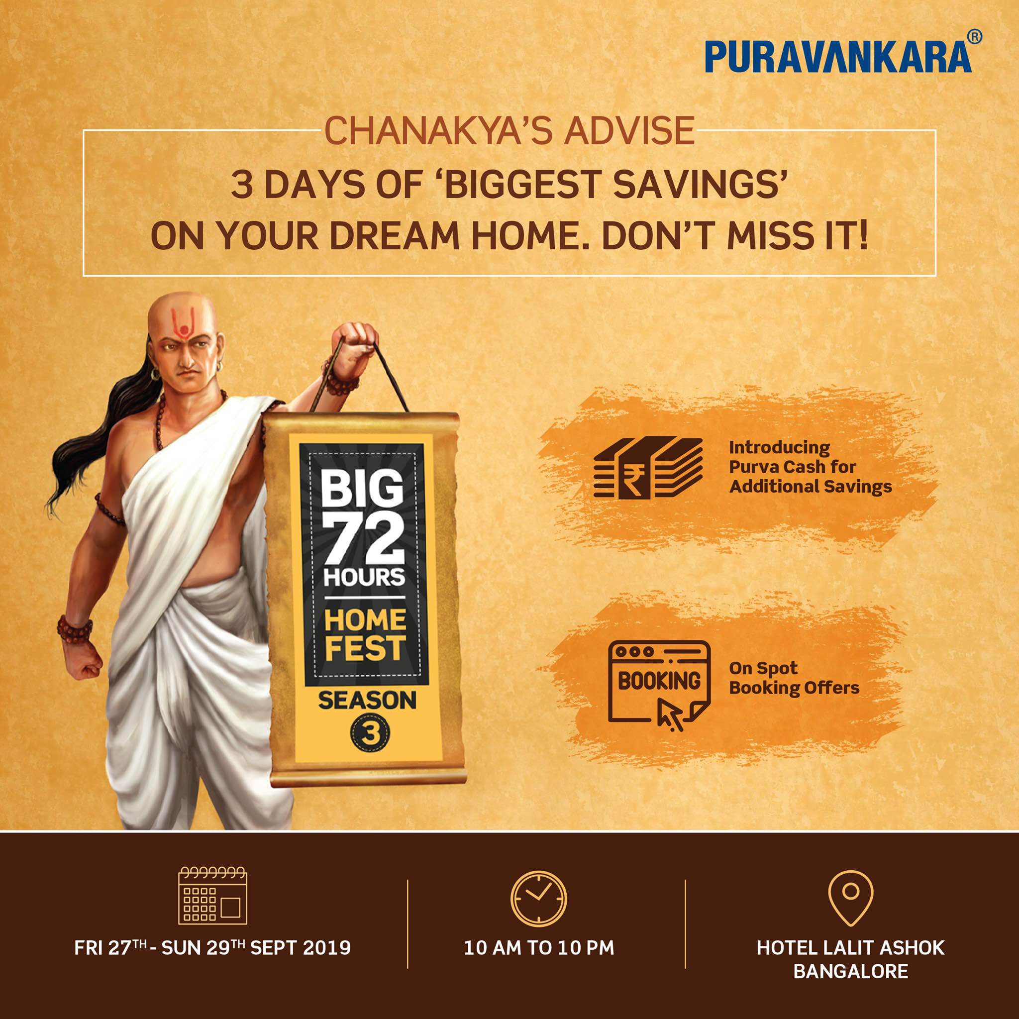 Puravankara Big 72 Hours Home Fest on 27 29 Sept 2019 in Bangalore