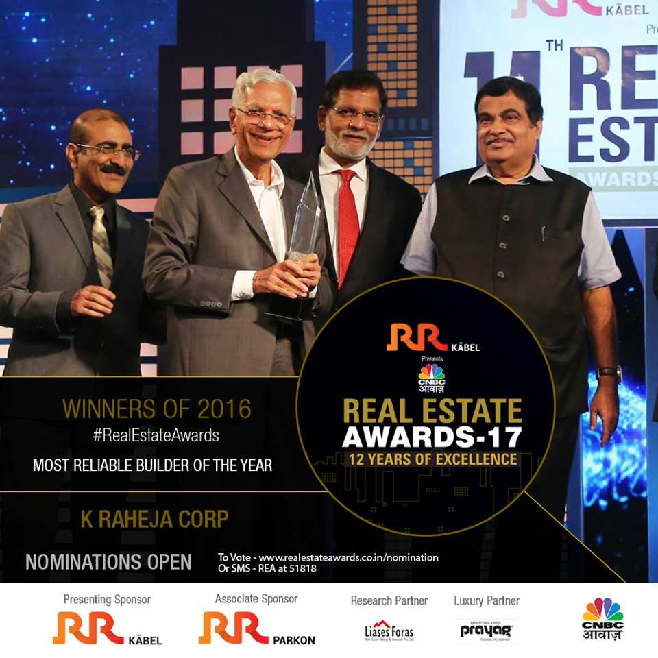 K Raheja Corp awarded Most Reliable Builder of the Year at the 11th Real Estate Awards