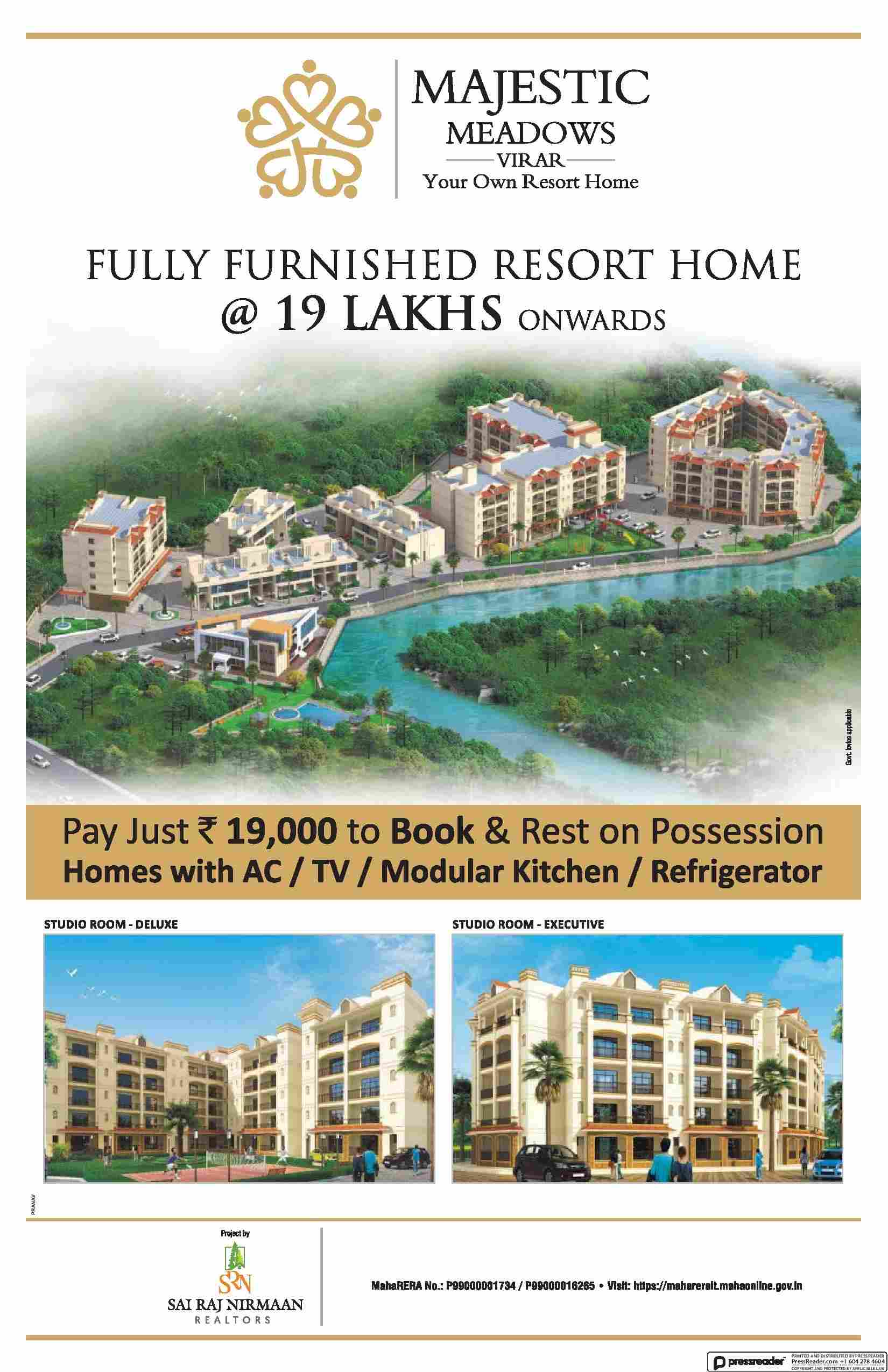 Pay just Rs 19 000 to book and rest on possession at SRN Majestic Meadows in Mumbai