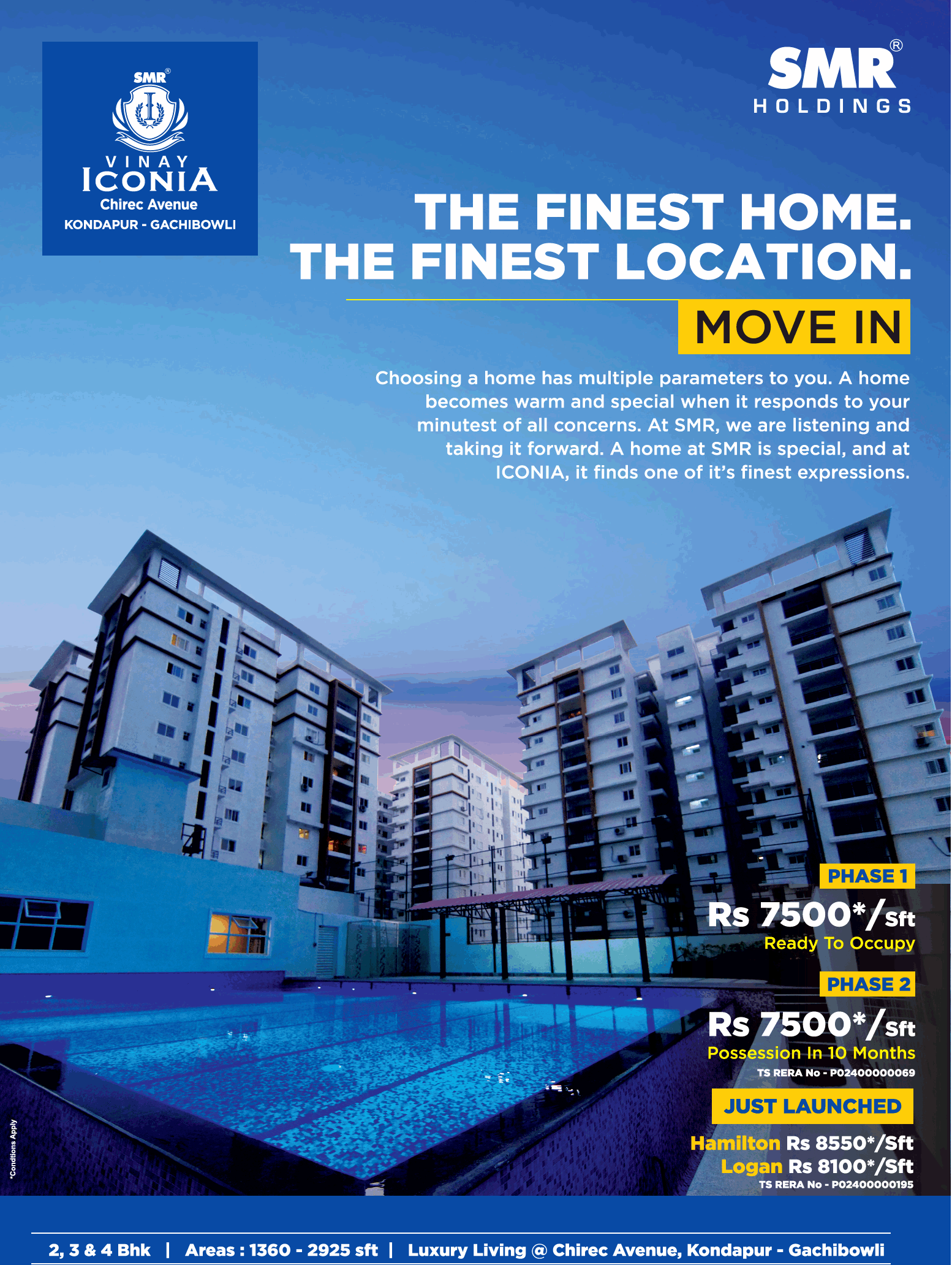 The finest home at the finest location SMR Vinay Iconia Hyderabad