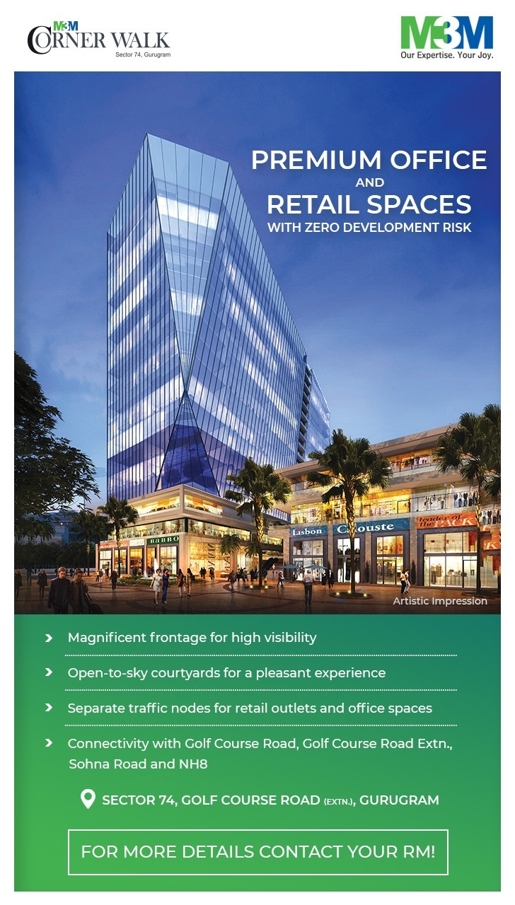 Premium office and retail spaces with zero development risk at M3M Corner Walk in Gurgaon