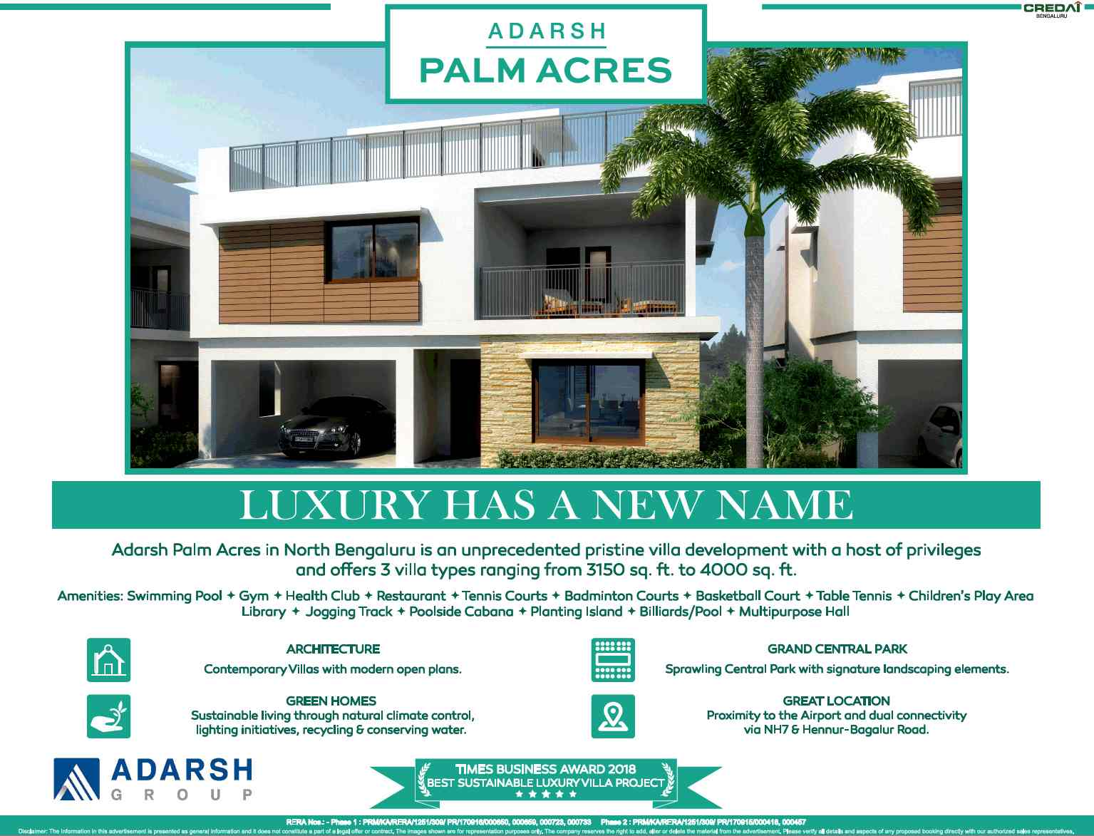 Book pristine 3 BHK villa at Adarsh Palm Acres in Bangalore