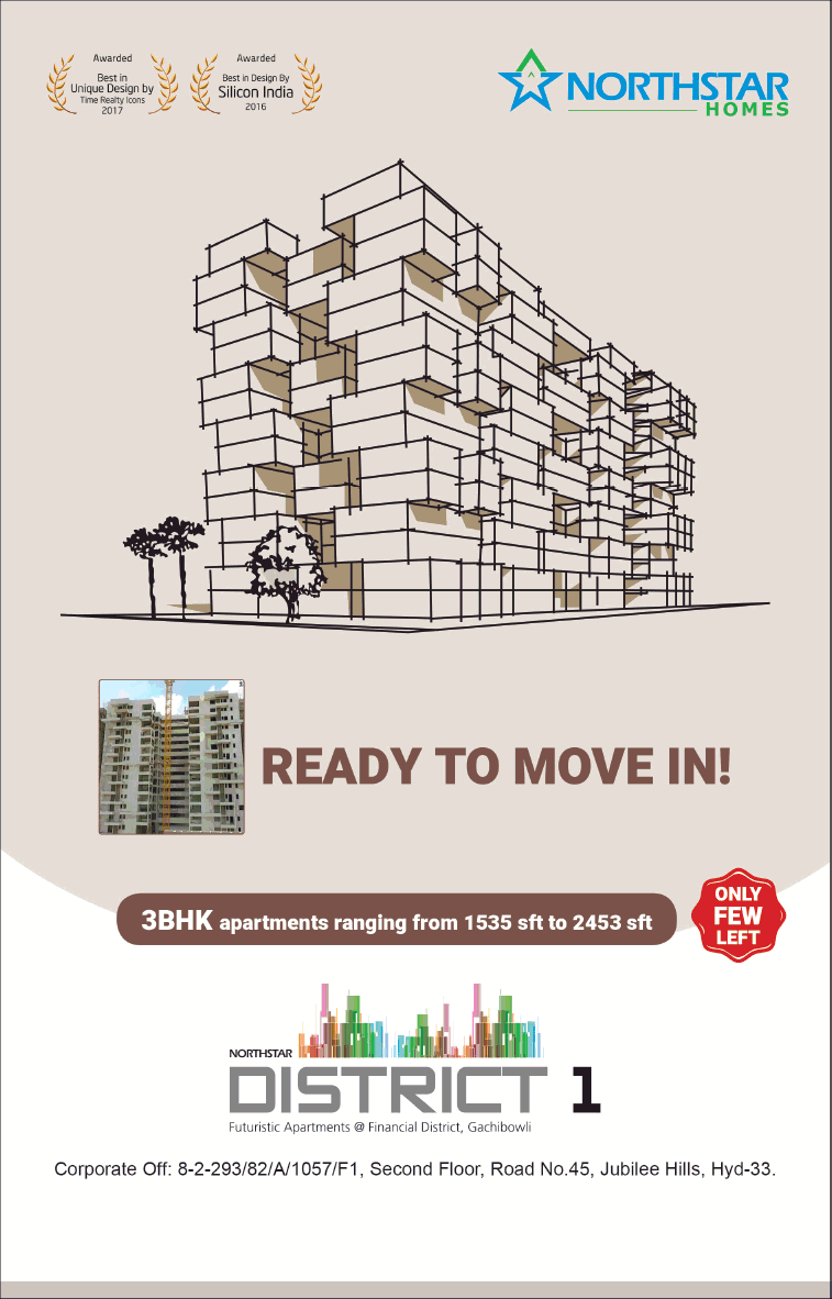 Ready to move in 3 BHK apartments at Northstar District 1 Hyderabad