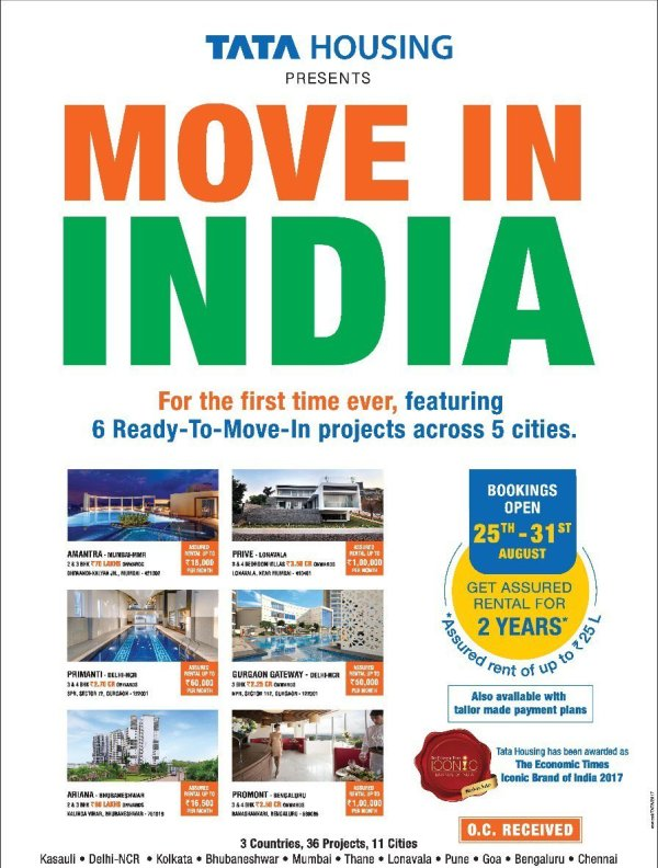 Tata Housing featuring Ready to Move Projects with Assured Rental for 2 years