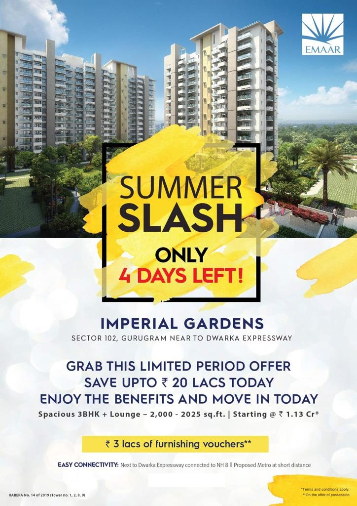 Grab this limited offer save upto Rs 20 lakhs move in today at Emaar MGF Imperial Gardens in Gurgaon