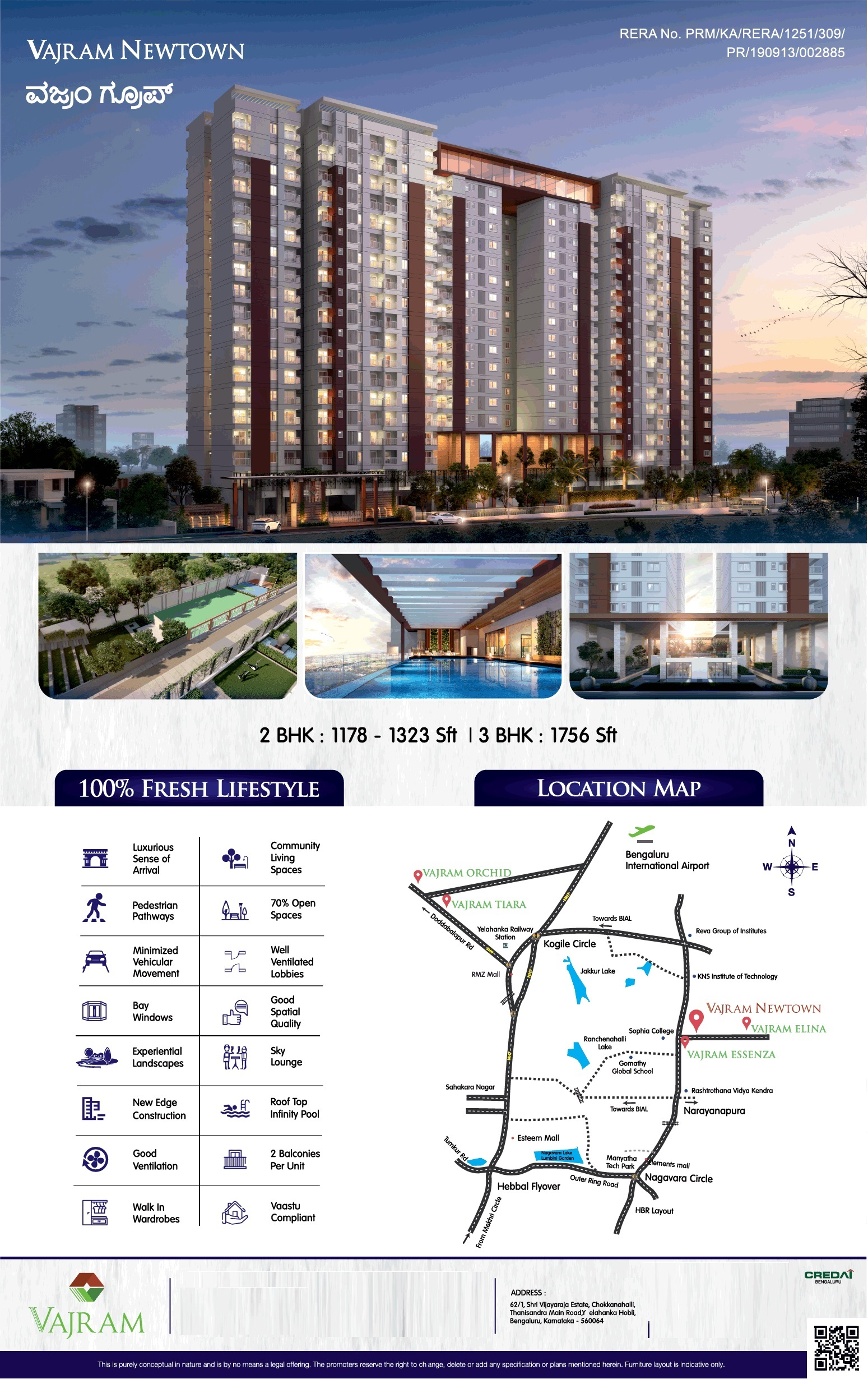 Vajram Newtown 2 3 BHK Rs 59 Lac in Thanisandra Main Road Bangalore