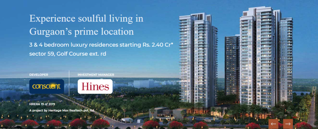 Conscient Hines Elevate 3 and 4 BHK luxury residences Rs 2 40 Cr in sector 59 Gurgaon
