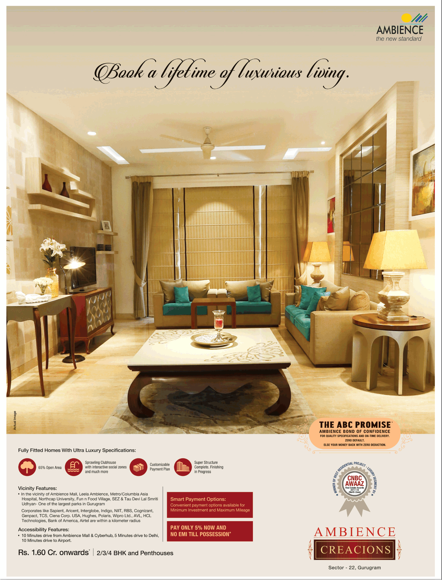 Book fully fitted homes with ultra luxury specifications at Ambience Creacions in Gurgaon