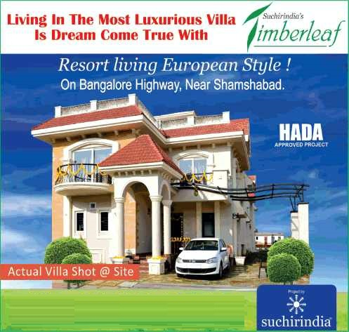 SuchirIndia Timberleaf presenting luxurious villas in Hyderabad