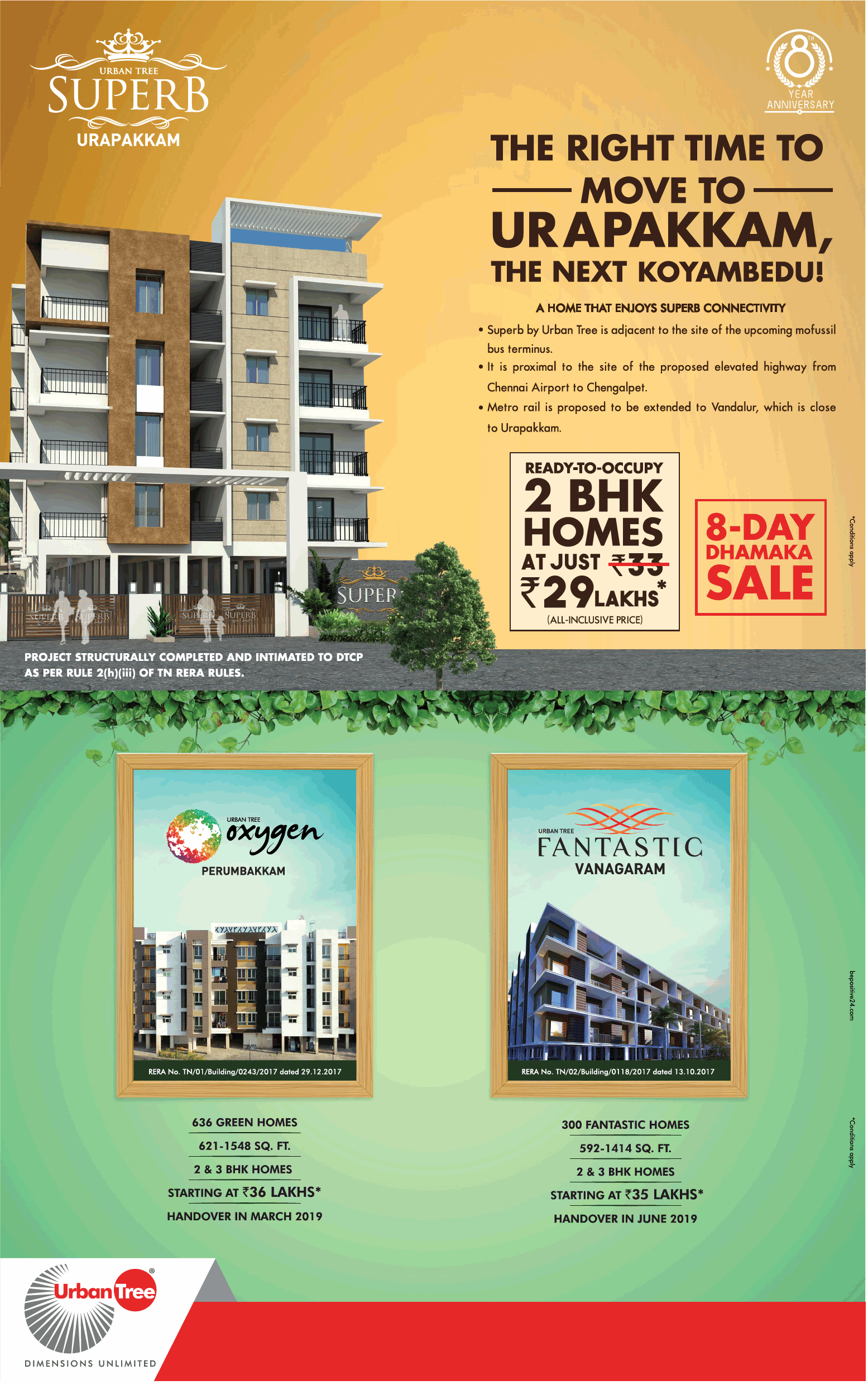 Ready to occupy 2 bhk homes at Rs 29 lakhs at Urban Tree Projects in Chennai