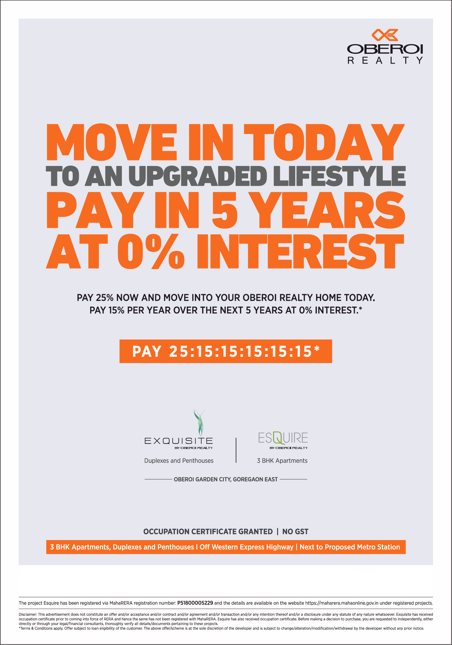 Pay in 5 years at 0 interest at Oberoi Realty Project s in Mumbai