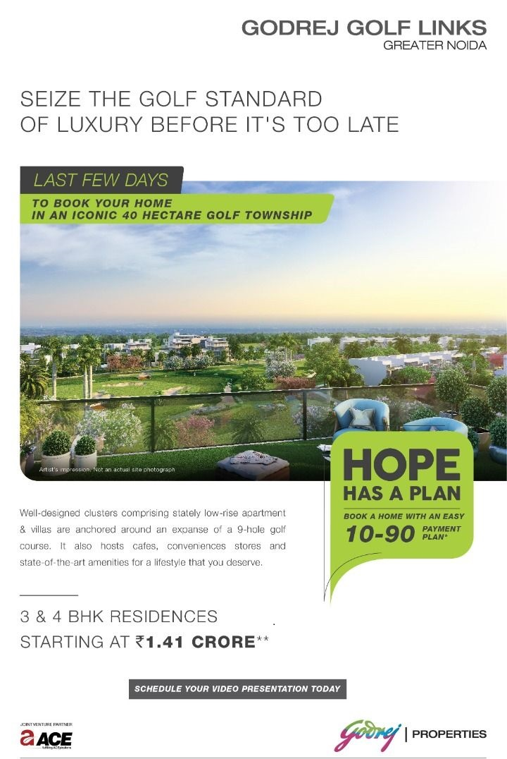 Book a home with 10 90 Payment Plan at Godrej Golf Links in Sector 27 Greater Noida