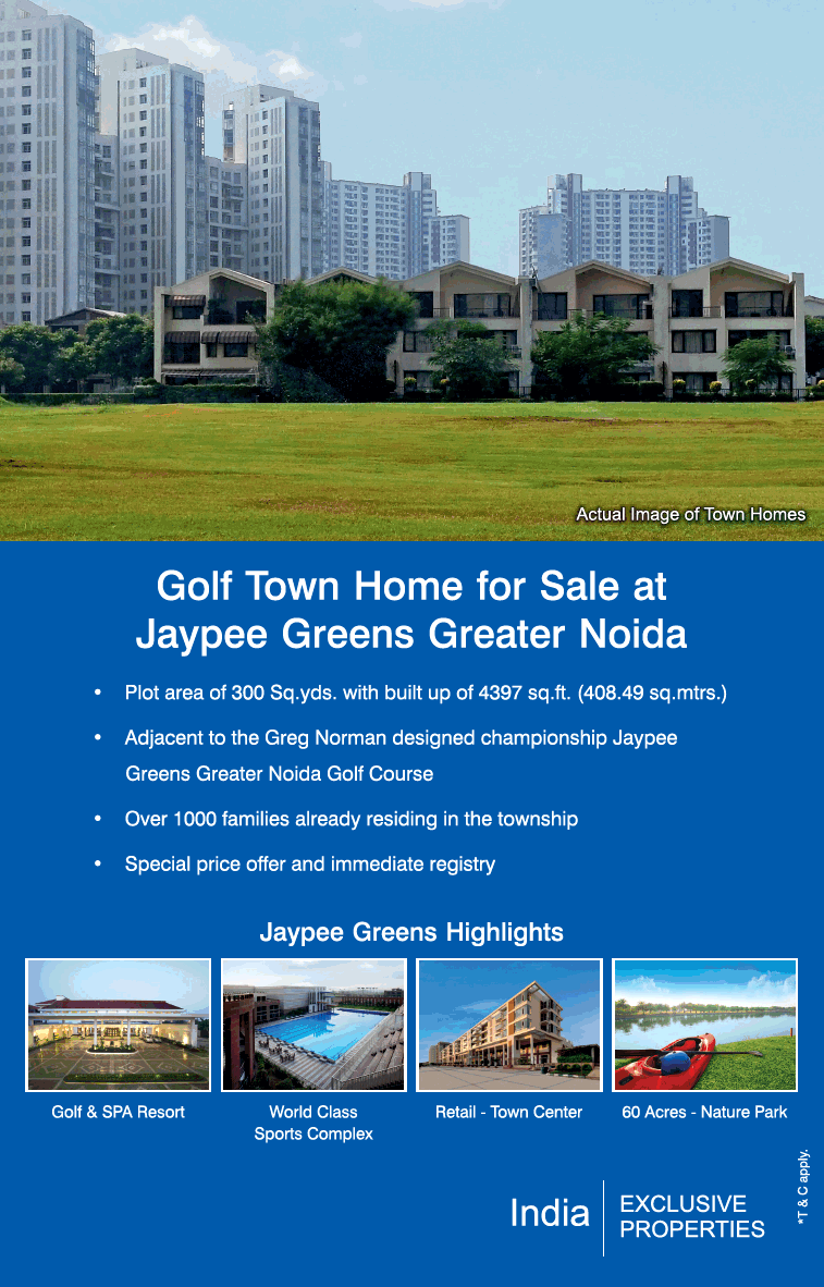 Golf town home for sale at Jaypee Greens in Greater Noida