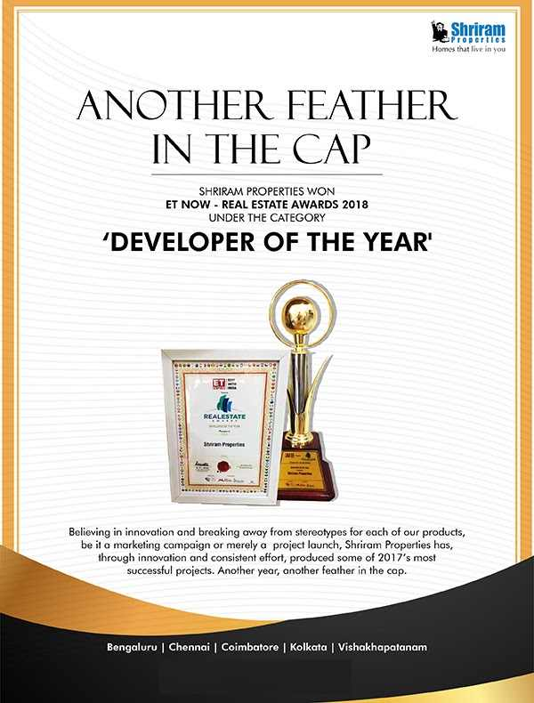 Shriram Properties awarded the Developer of the Year by ET Now Real Estate Awards 2018
