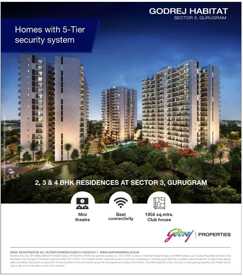 Godrej Habitat homes with 5 tier security system in Sector 3 Gurugram