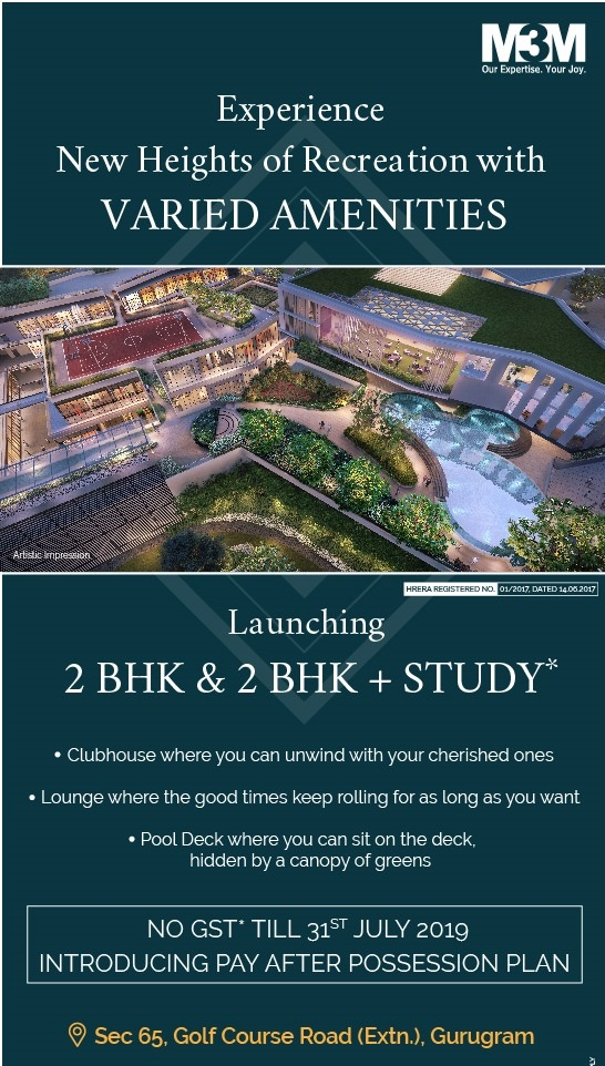 Launching 2 BHK and 2 BHK study at M3M Heights 65th Avenue in Gurgaon
