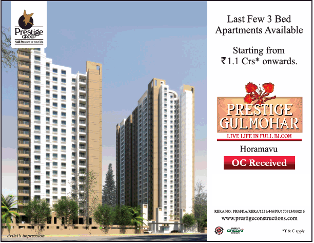Last few 3 bed apartments available at Prestige Gulmohar Bangalore