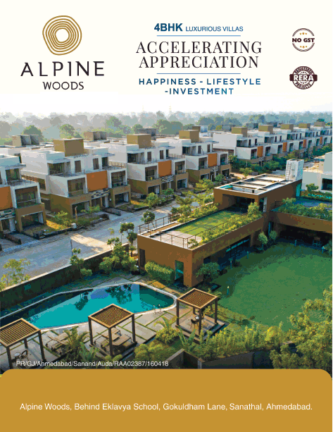 Alpine Woods 4BHK luxurious villas happiness lifestyle investment in Ahmedabad