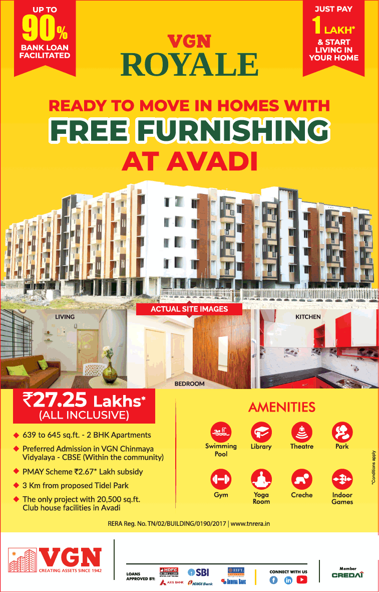 Just pay 1 lakh and start living in your home at VGN Royale in Avadi Chennai