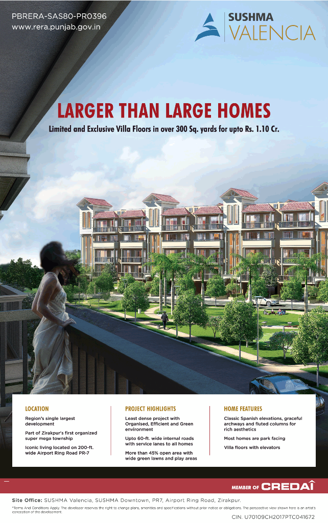 Exclusive villa floors in over 300 Sq yards for upto Rs 1 10 Cr at Sushma Valencia Chandigarh