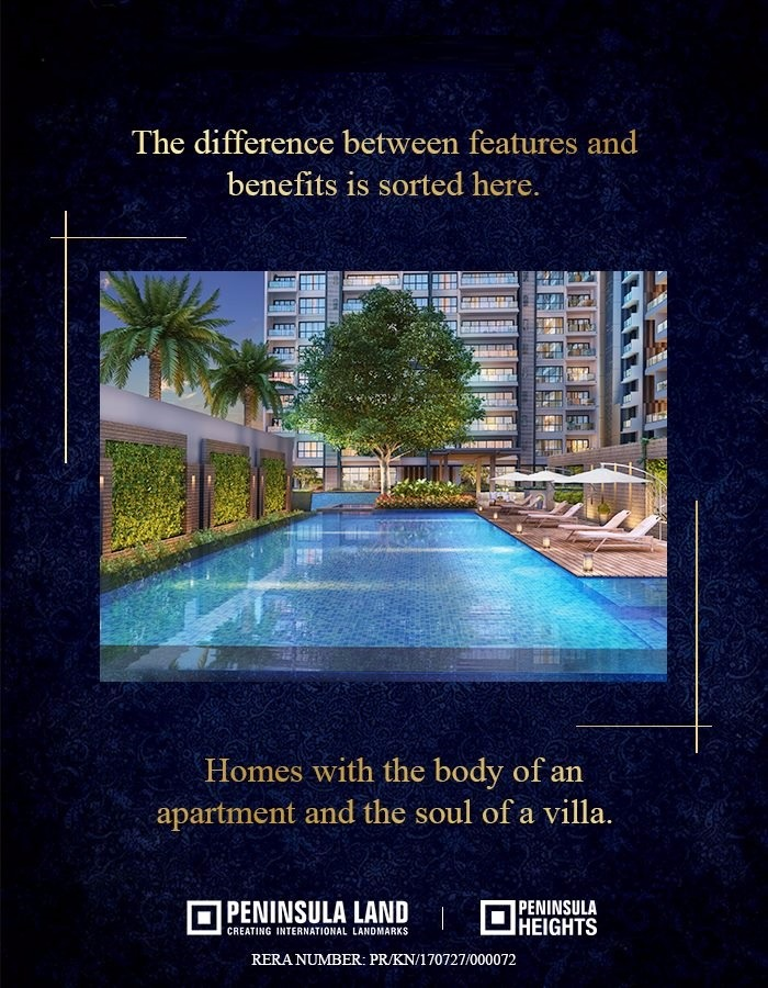 Reside in homes with the body of an apartment and the soul of a villa at Peninsula Heights in Bangalore