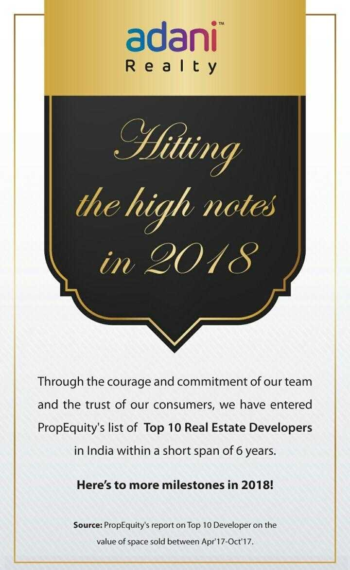 Adani Realty listed in ProEquity s top 10 Real Estate Developers in India