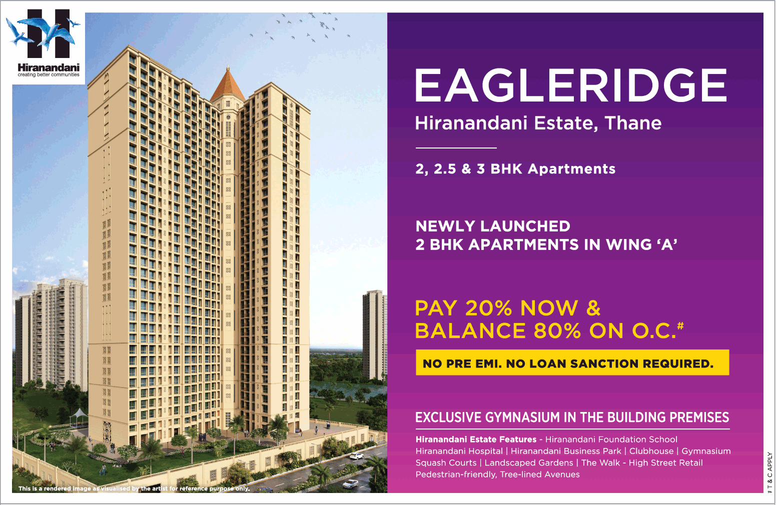 Hiranandani Eagleridge newly launched 2 bhk apartment in Wing A in Mumbai