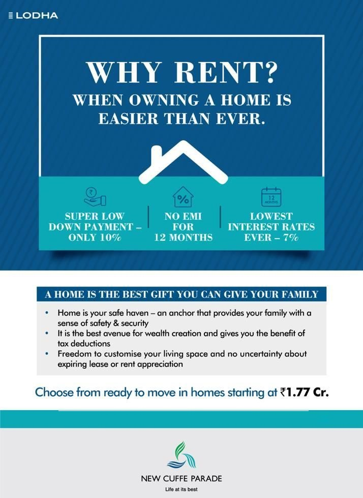 Owning a home is easier than ever at Lodha New Cuffe Parade in Mumbai