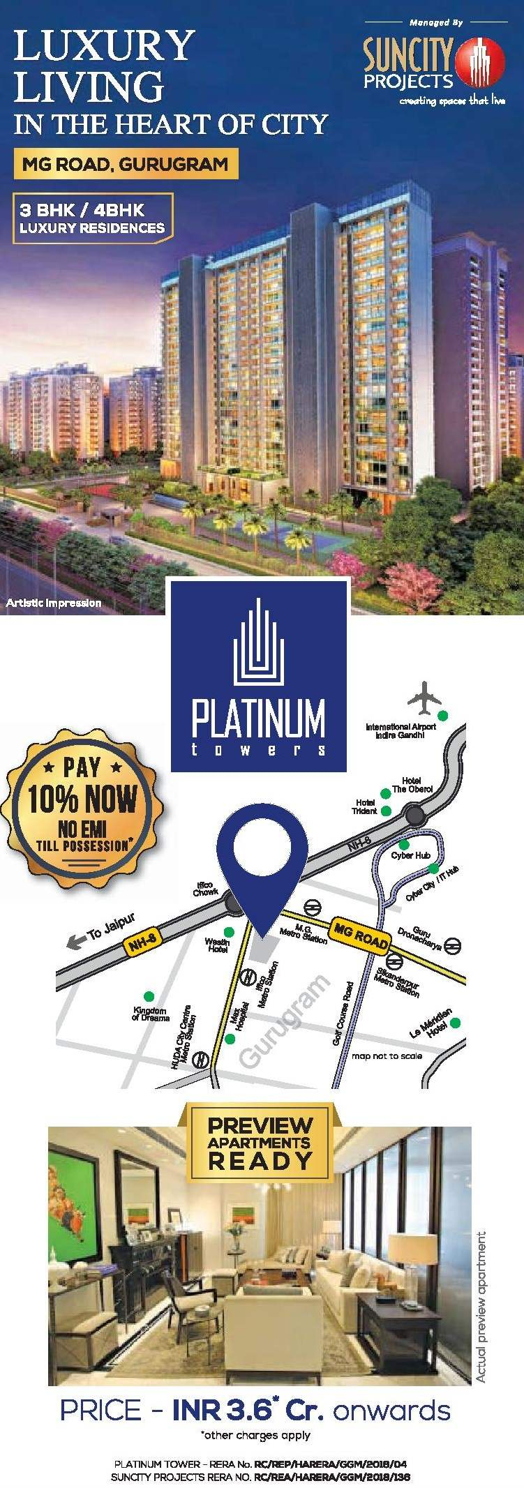 Pay 10 now no EMI till possession at Suncity Platinum Towers in MG Road Gurgaon