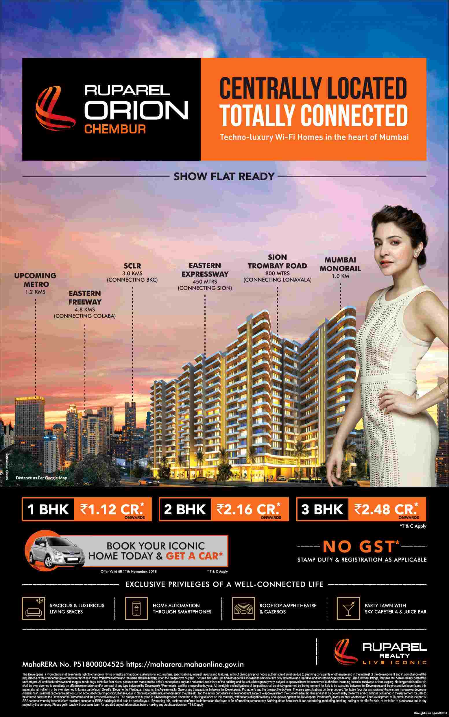 Get a car on booking an iconic home at Ruparel Orion in Chembur Mumbai