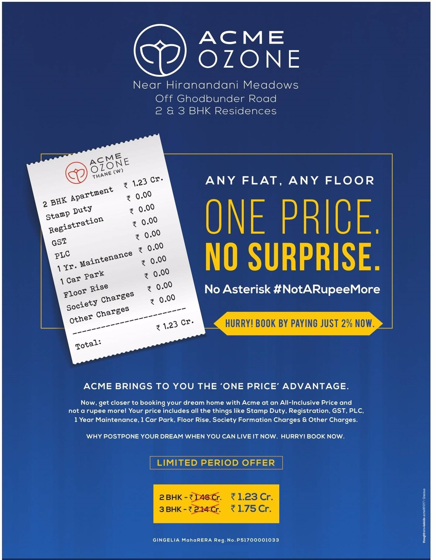 Pay just 2 now and book 2 BHK 1 23 cr 3 BHK 1 75 cr at Acme Ozone in Mumbai