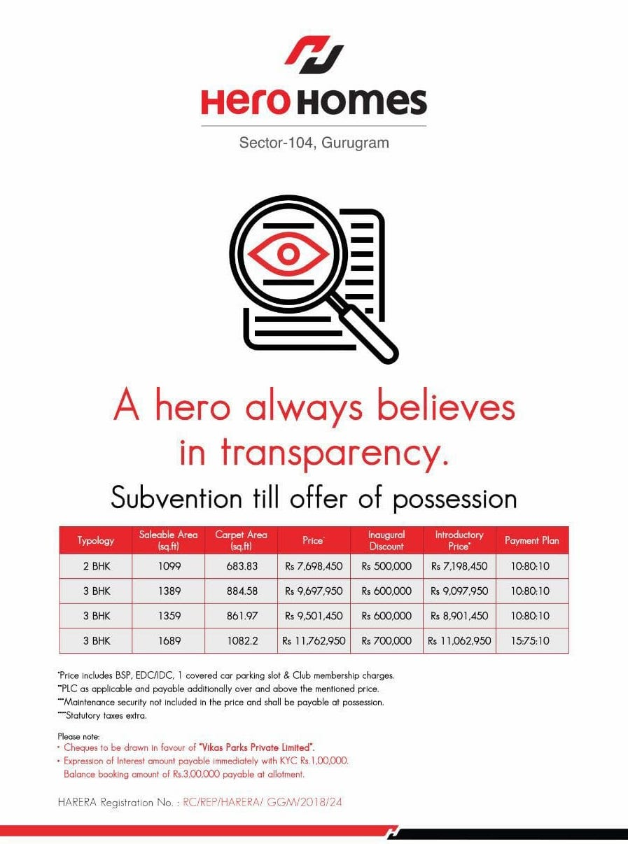 Hero Homes Gurgaon offers subvention payment plan till possession