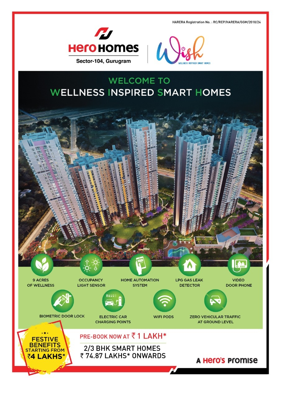 Pre book now Rs 1 Lac at Hero Homes in Sector 104 Gurgaon