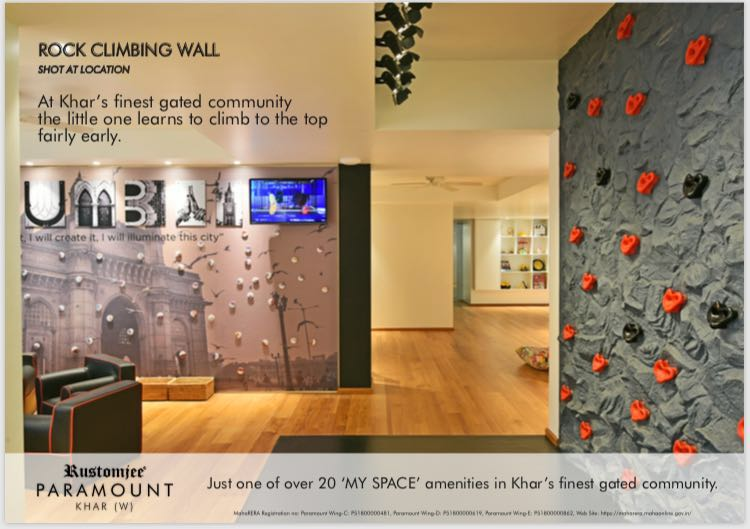 My Space Amenities Includes Rock Climbing Wall At Rustomjee