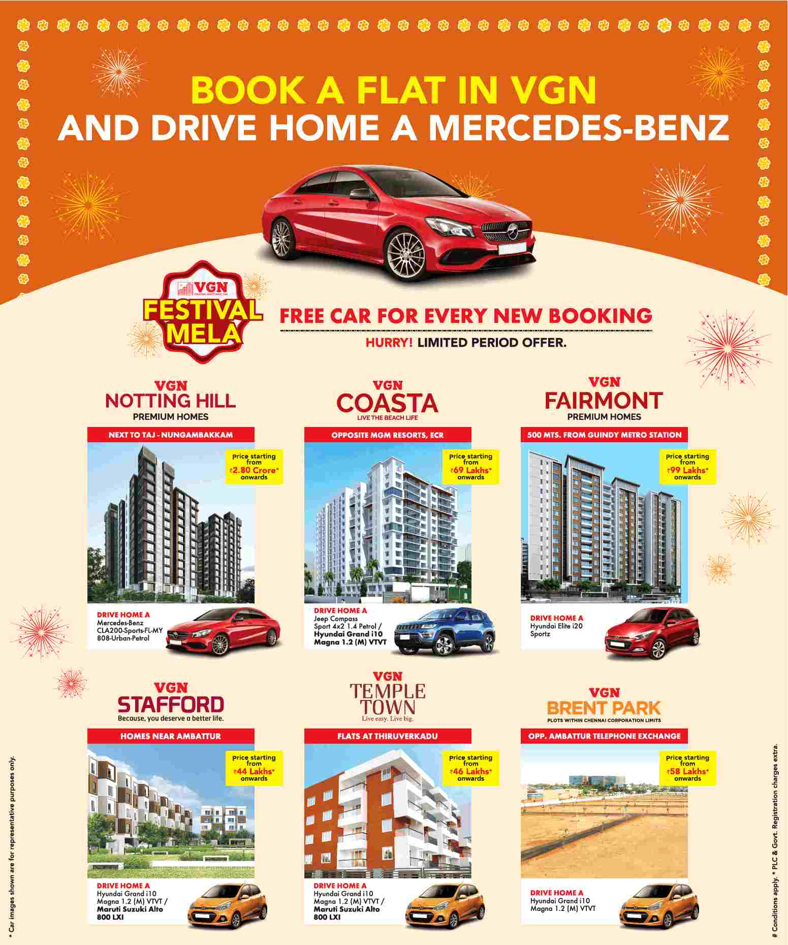 Get a free car on every booking at VGN properties in Chennai