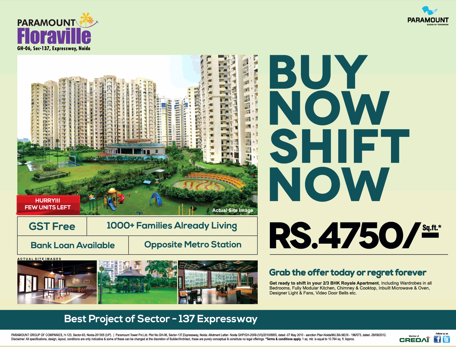Grab The Offer Today At Just Rs 4750 Per Sqft At Paramount