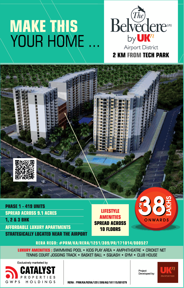 Book apartment Rs 38 lakh onwards at Ukn The Belevedere Bangalore